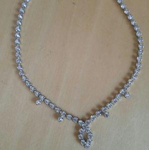 "Vintage Rhinestone Choker Necklace 14.25"""